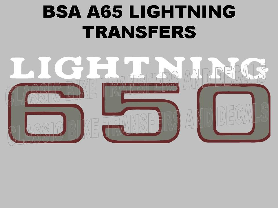 Bsa a65 lightning 1969 to 1970 side panel transfers decals for Telephone mural 1970
