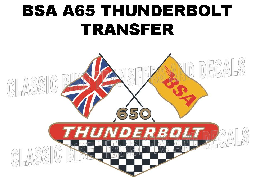 BSA A65 Thunderbolt 1968 Side Panel Transfer Decal D50029