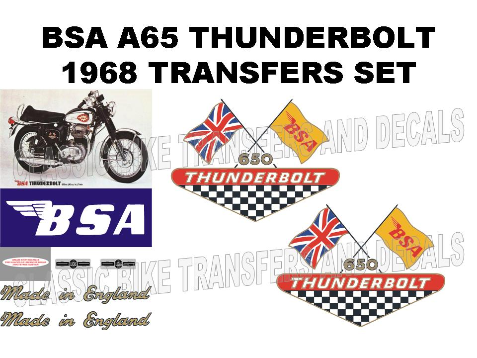 BSA A65 Thunderbolt 650cc 1968 Late Transfer Decal Set